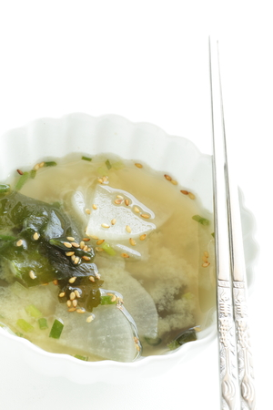 Korean food, seaweed and radish soup
