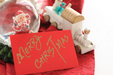 Hand written Christmas card and ornaments