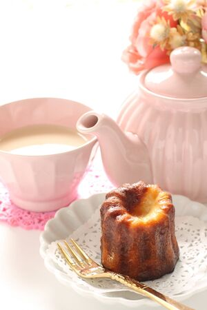 French confectionery Canel and milk tea