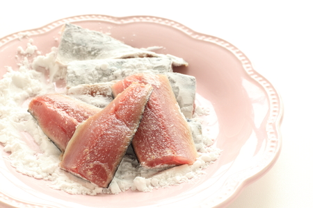 Pacific saury and corn starch for cooking image