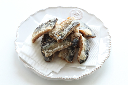 Japanese food, deep fried Pacific Saury