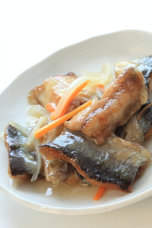 Japanese food, deep fried pacific saury marinated vegetable