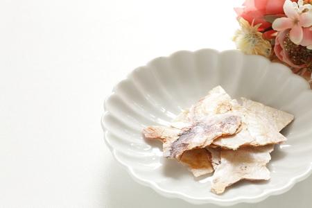 Squid senbei on white