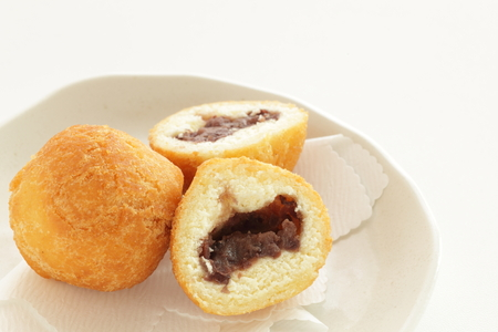 Okinawa food, deep fried red bean paste doughnut