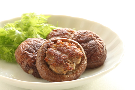 Mince meat and mushroom with copy space 스톡 콘텐츠