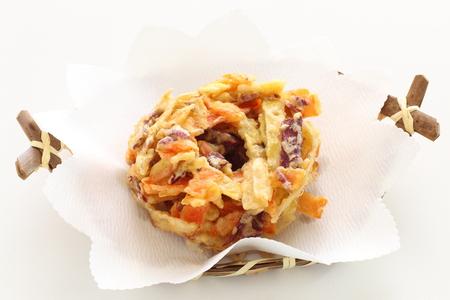 Japanese food, sweet potato and burdock deep fried Tempura