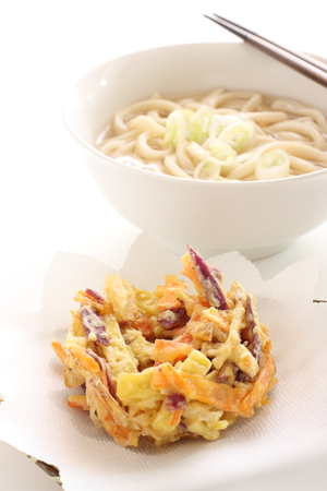 Japanese food, sweet potato Kakiage tempura and udon noodles