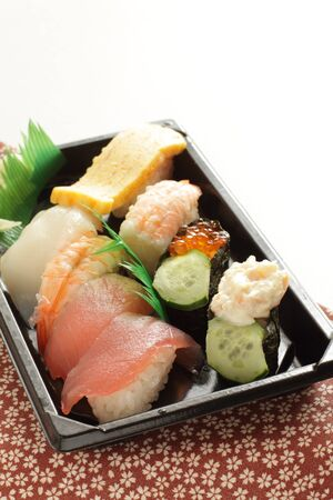 Japanese food, assort sushi on dish