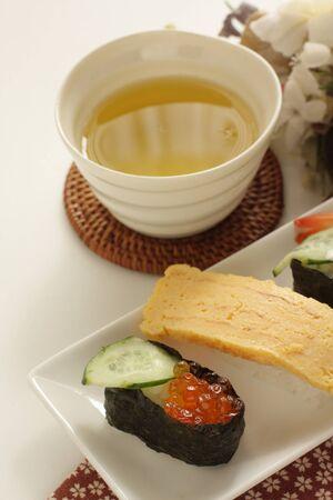 Japanese food, assorted sushi on dish