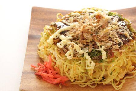 Japanese food, noodle pancake Okonomiyaki
