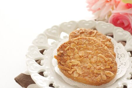 Almond rusk on dish with copy space
