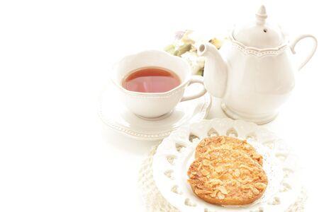 Almond rusk and tea Stockfoto
