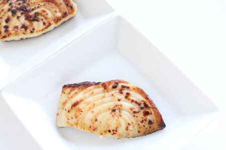 Japanese food, grilled miso sword fish Stock Photo - 128553683