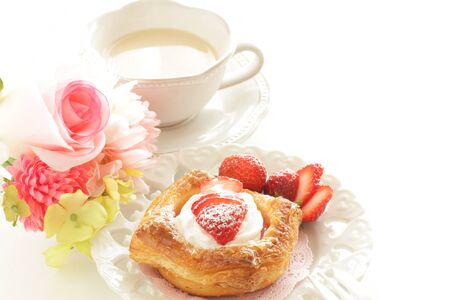 Strawberry Danish pastry with copy space
