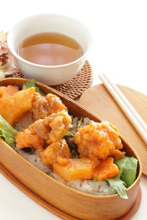 Chinese sweet and sour sparerib in Japanese bento