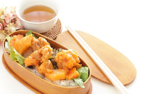 Chinese cuisine, sweet and sour sparerib in Japanese bento