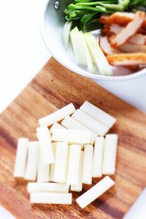 Tteok-bokki ingredient rice stick cake Stock Photo