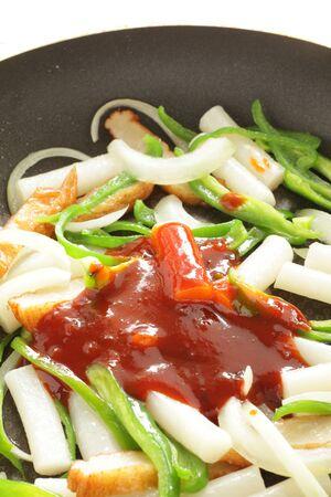 Korean cooking, chili sauce and rice cake Фото со стока