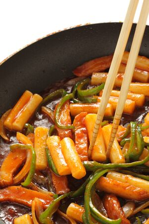 Korean cooking, tteokbokkisimmered on fried pan