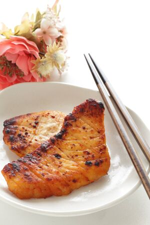 Japanese food, grilled miso marinated sword fish Imagens