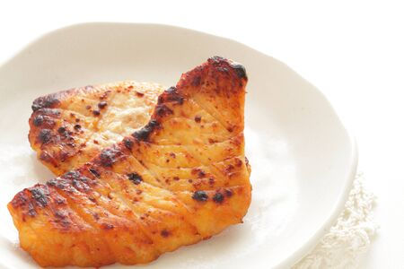 Japanese food, grilled miso marinated sword fish Stock Photo