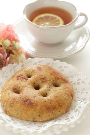 Italian bread, foccacia on dish