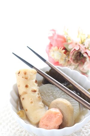 Japanese food, simmer odened fish cake and radish Stock Photo