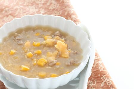 Chinese food, mince pork and corn soup