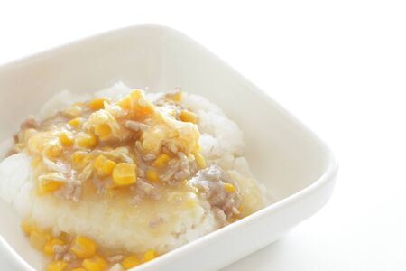 Cantonese food, chicken mince and corn on rice