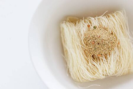 Asian food, instant rice noodles in bowl