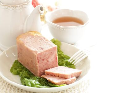 Luncheon meat on plate with copy space 版權商用圖片