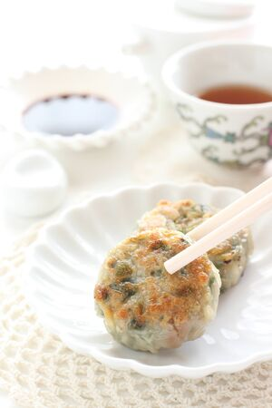 Chinese food, leek gyoza dumpling dim sum Stock Photo