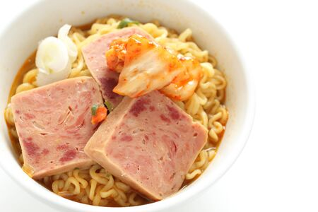 Korean food, core meat and spicy ramen noodles