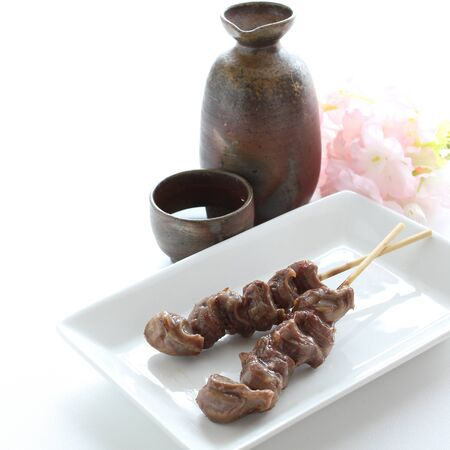 Japanese food Yakitori, grilled gizzard and wine