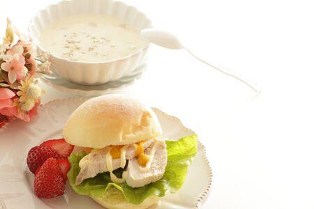 Chicken and mustard sauce sandwich Stock Photo