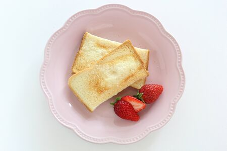 Sugar rusk and strawberry breakfast
