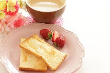 Sugar rusk and strawberry breakfast ant milk tea
