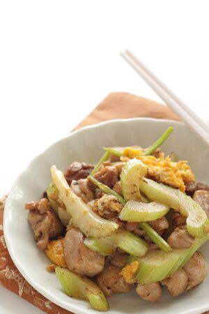 Chinese food, chicken and celery stir fried Imagens