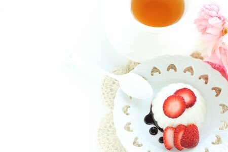 Strawberry and Millk Kanten jelly Stock Photo
