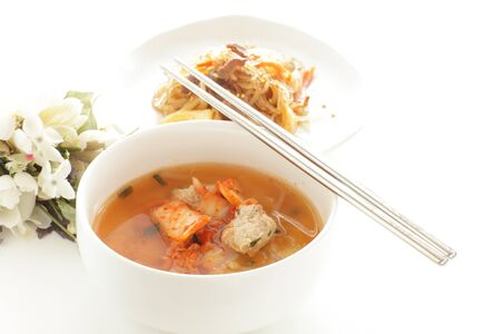 Korean food, meat and kimchi soup