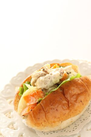 Chicken and potato salad sandwich 写真素材 - 133456158