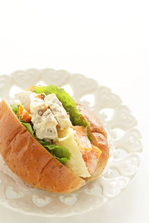 Chicken and potato salad sandwich 写真素材 - 133456168