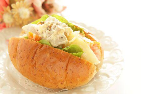 Chicken and potato salad sandwich 写真素材 - 133456179