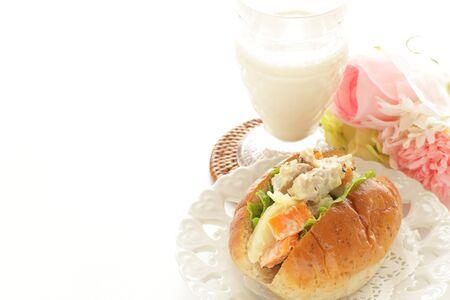 Chicken and potato salad sandwich 写真素材 - 133456184