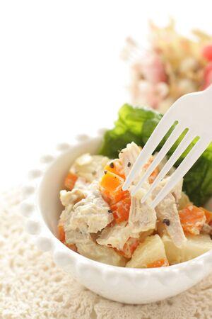 Chicken and carrot salad on white background Reklamní fotografie - 132430568