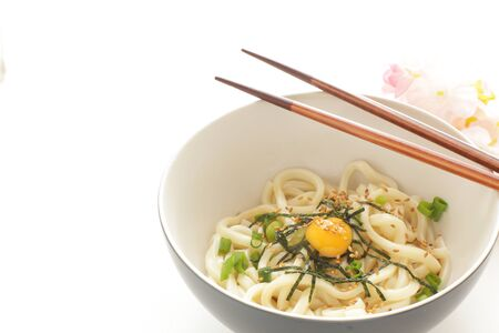 Japanese food, quail egg and udon noodles