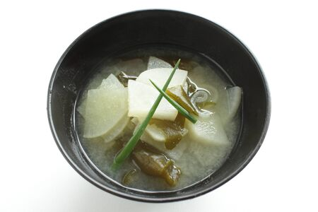Japanese food, radish and green onion miso soup