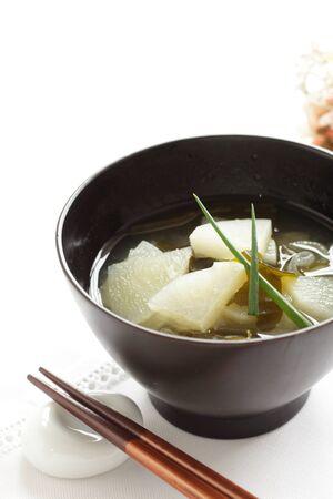 Japanese food, radish and scallion miso soup Reklamní fotografie