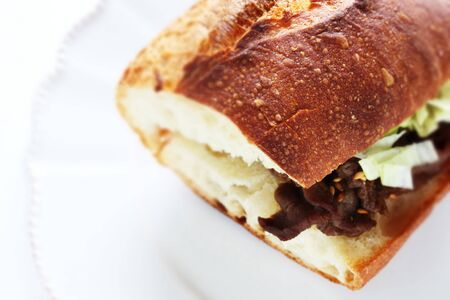 grilled beef sandwich on dish