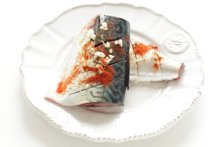 Mackerel and chili pepper marinated with garlic Stock fotó